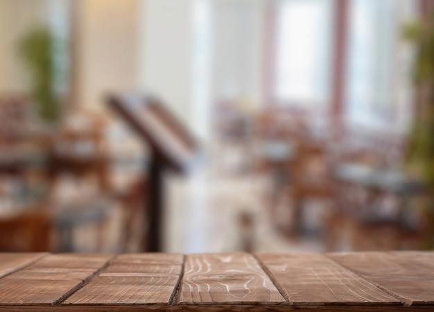 Arbeitsplatte in einem restaurant. mock up hintergrund