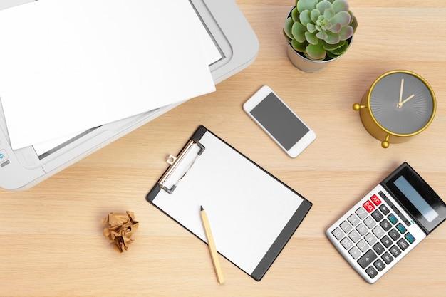 Arbeitsplatz eines unternehmers. drucker und andere büromaterialien
