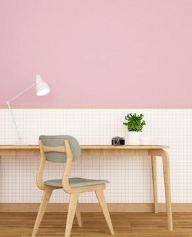 Arbeitsplatz im haus oder im hotel auf weißer keramischer wand und rosa wand verzieren