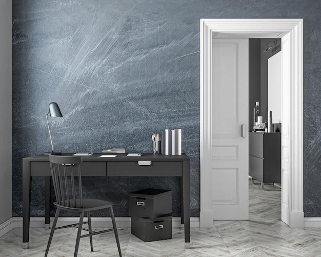Arbeitsplatz interieur im klassischen stil mit tafelwand, tisch, stuhl, tür, weißem parkettboden. 3d-renderillustration.