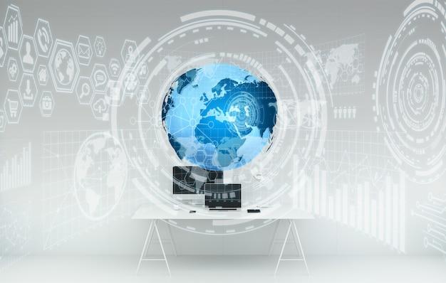 Arbeitsplatz mit modernen geräten und wiedergabe der hologrammschirme 3d