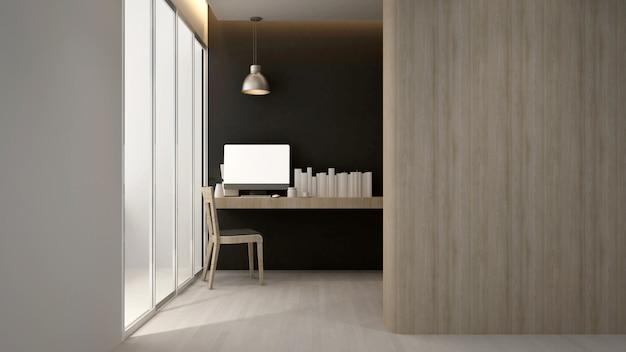 Arbeitsplatzhotel oder -wohnung, wiedergabe des innenraum-3d