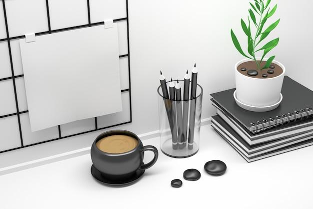 Arbeitsplatztisch mit notizbüchern, notizbrett und kaffeetasse