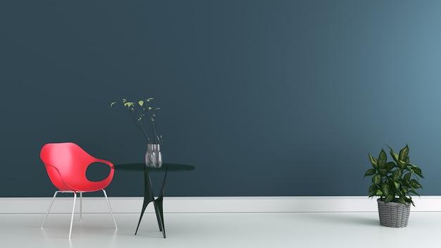 Arbeitsraum mit stuhl und tabelle auf dunkler wand. 3d-rendering