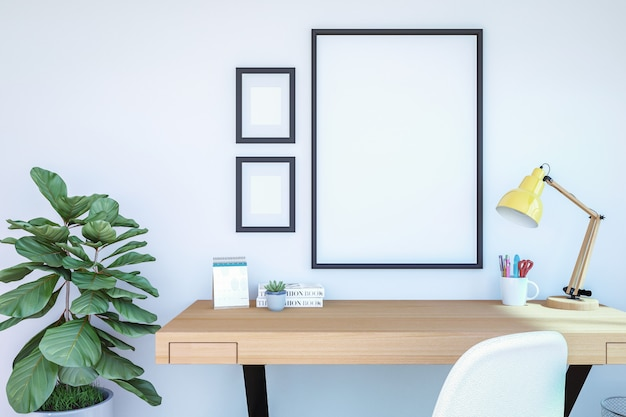 Arbeitsrauminnenraum mit leeren fotorahmen für spott oben