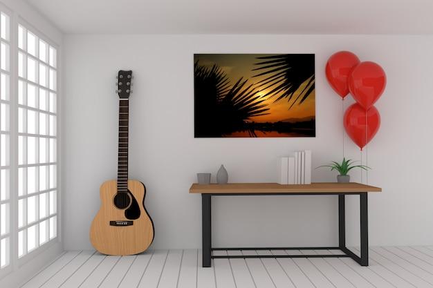 Arbeitstabelle im leeren raum mit akustikgitarre und roten ballonen in der wiedergabe 3d
