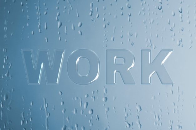 Arbeitstypografie in nasser glasschrift