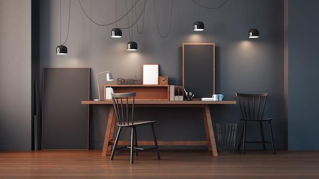 Arbeitszimmer & modernes büro interieur / 3d-rendering