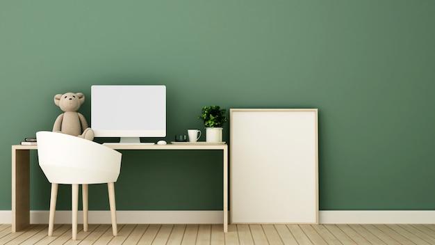 Arbeitszimmer und rahmenbild für kunstwerk kinderzimmer oder büro