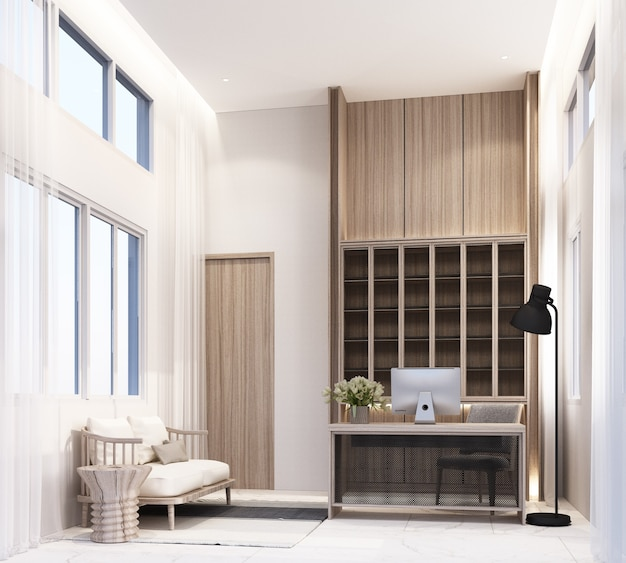 Arbeitszimmer zu hause mit arbeitstisch computer und stuhl bücherregal einbauschrank mit wohnbereich auf weißem marmorfliesenboden und schiere 3d-rendering