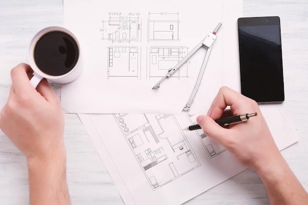 Architekt zeichnung blaupausen