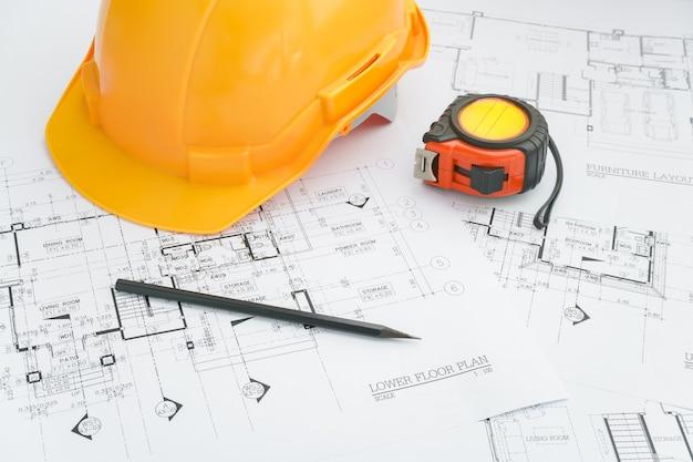 Architektenarbeitsplatz - architekturwerkzeuge auf funktionstabelle