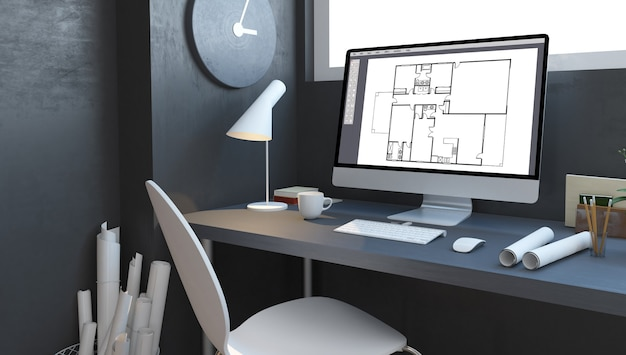 Architektenstudio mit 3d-rendering-modell des computers