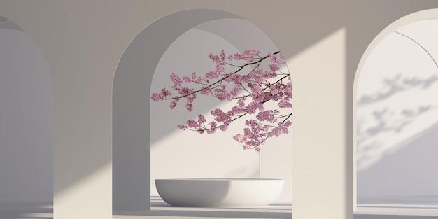 Architektonischer podiumshintergrund im japanischen stil für branding und produktpräsentation 3d-rendering