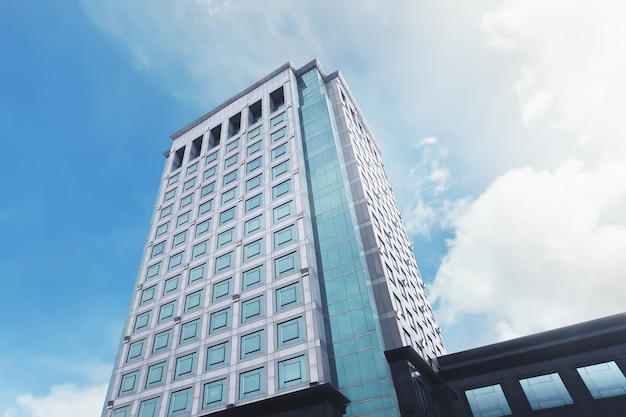 Architektur des bürogebäudes mit modernem fensterglas