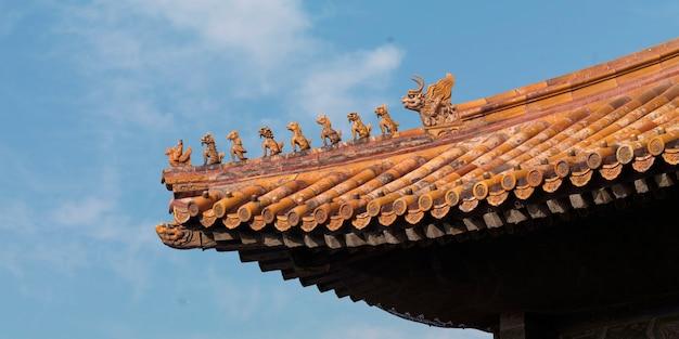 Architekturdetail eines palastes in der verbotenen stadt, peking, china