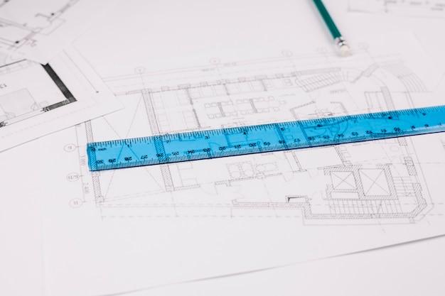 Architekturkonzept mit bauplan