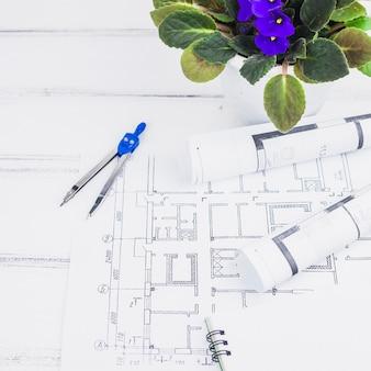 Architekturkonzept mit plänen