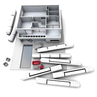 Architekturmodell eines hauses mit aufgerollten bauplänen