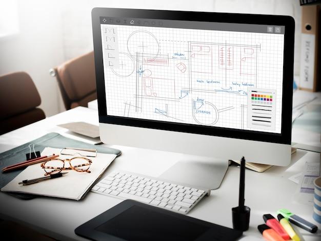 Architekturplan blueprint layout arbeitskonzept