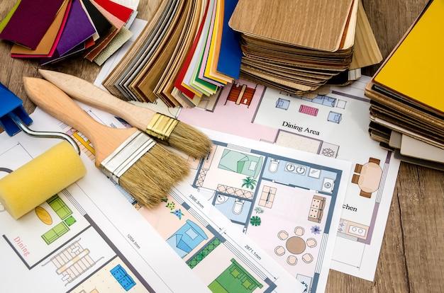 Architekturplan des hauses, grundriss, werkzeug, farben