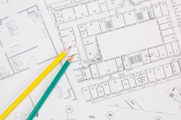 Architekturplan. technische hauszeichnungen, pancil und blaupausen.