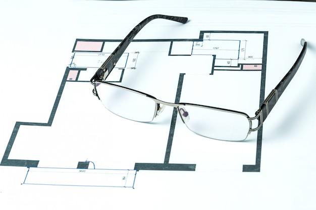 Architekturprojekt und gläser
