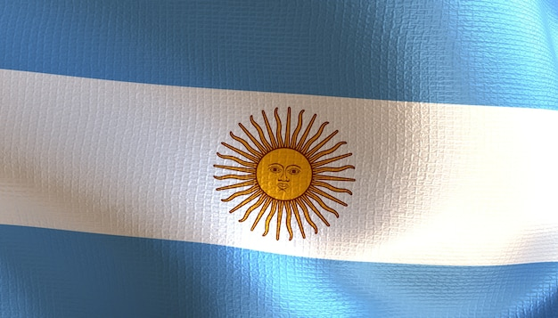 Argentinien-flagge 3d-rendering mit textur