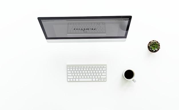 Ariel ansicht der verwendung eines desktop-computer und handy