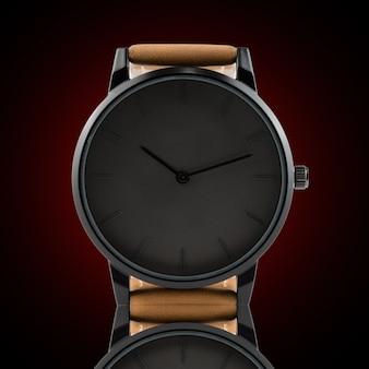 Armbanduhr lokalisiert auf schwarzem hintergrund