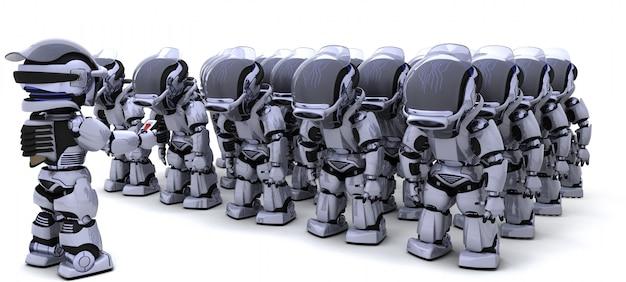 Armee von robotern mit führer
