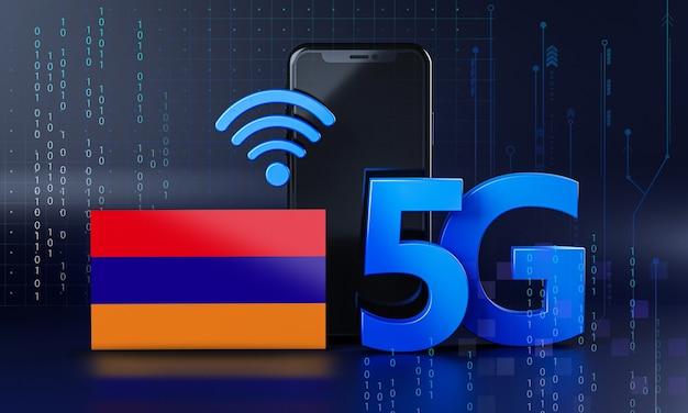 Armenien bereit für 5g-verbindungskonzept. hintergrund der 3d-rendering-smartphone-technologie