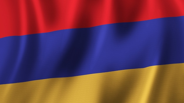 Armenien fahnenschwingen nahaufnahme 3d-rendering mit hochwertigem bild mit stoffstruktur