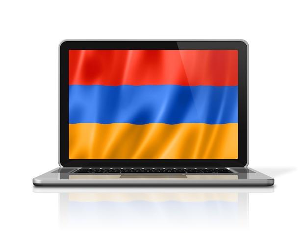 Armenien-flagge auf laptop-bildschirm isoliert auf weiss. 3d-darstellung rendern.