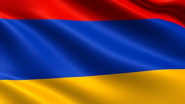 Armenien flagge, mit wehenden stoff textur