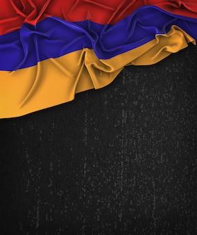 Armenien-flagge vintag auf einem grunge-schwarz-tafel mit raum für text