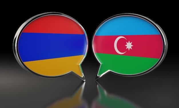 Armenien und aserbaidschan flaggen mit sprechblasen. 3d-darstellung