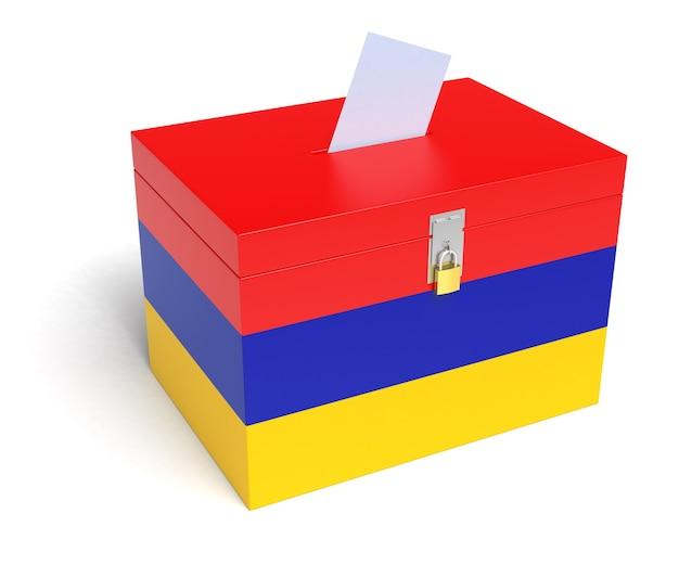Armenische flagge wahlurne. isolierter weißer hintergrund. 3d-rendering.