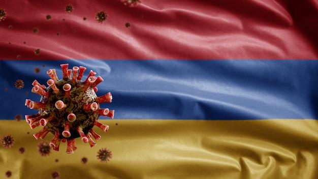 Armenische wehende flagge und coronavirus-mikroskopvirus