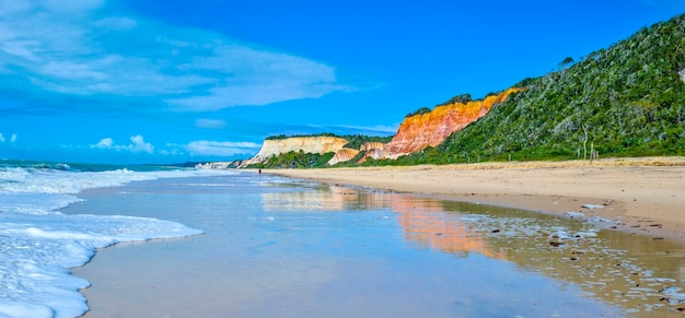 Arraial d'ajuda ist ein ortsteil der brasilianischen gemeinde porto seguro, an der küste des bundesstaates bahia, cliff am strand von pitinga