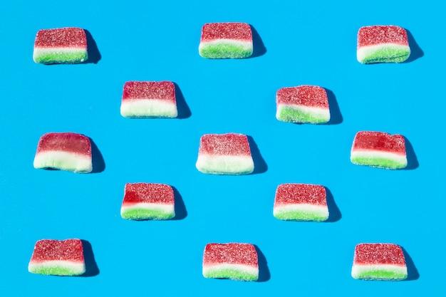 Arrangement köstlicher süßer wassermelonensüßigkeiten