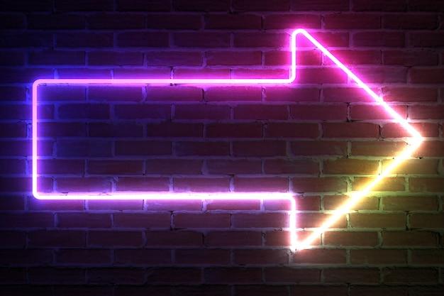 Arrow neon light frame withblank space für ihr design vor der mauer. 3d-rendering