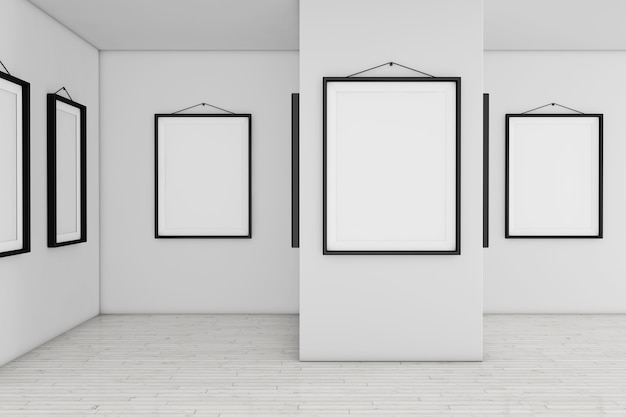 Art gallery museum mit weißen leeren plakat mockup frames extreme nahaufnahme. 3d-rendering