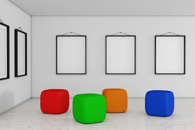 Art gallery museum mit weißen leeren plakat-mockup-rahmen und farbiger sessel-würfel-tasche extreme nahaufnahme. 3d-rendering