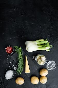 Artischocke mit fenchel, kartoffeln und parmesanzutaten