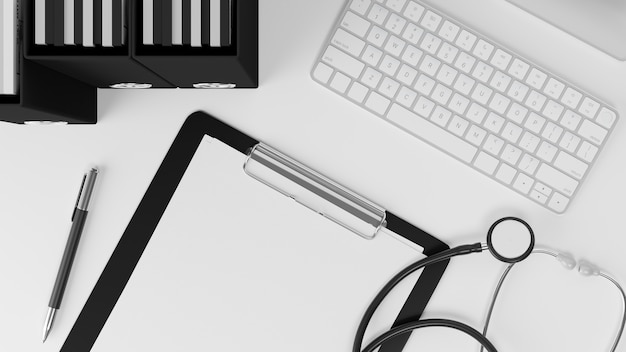 Arzt bürotisch zwischenablage leeres blatt stethoskop tastatur pc-dateien auf weißem hintergrund