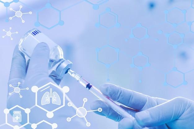 Arzt hält spritze-impfstoff-fläschchenmedizin-pharmazeutik-forschung