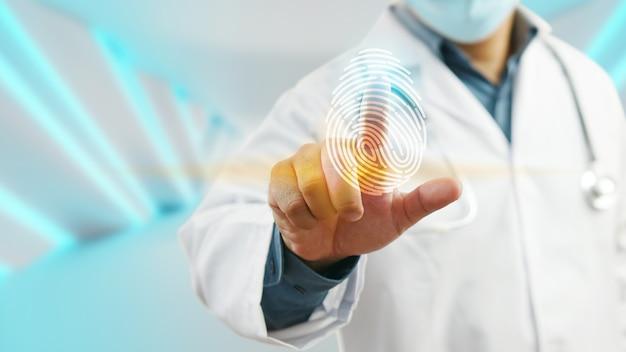 Arzt-login mit fingerabdruck-scan-technologie. fingerabdruck zur identifizierung des persönlichen sicherheitssystemkonzepts