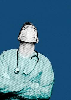 Arzt und medizinischer held, der während der coronavirus-pandemie hart arbeitet