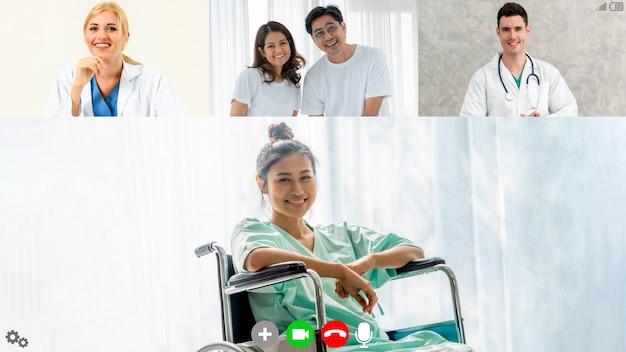 Arzt und patient sprechen per videoanruf